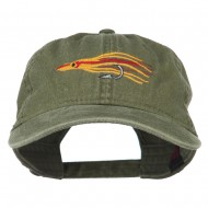 Salmon Squid Rig Embroidered Washed Cap - Olive Green