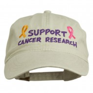 Support Cancer Research Embroidered Washed Cap - Stone