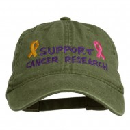 Support Cancer Research Embroidered Washed Cap - Olive Green
