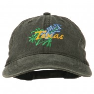 Texas State Bluebonnet Flower Embroidered Cap - Black