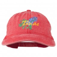 Texas State Bluebonnet Flower Embroidered Cap - Red