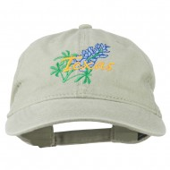 Texas State Bluebonnet Flower Embroidered Cap - Khaki