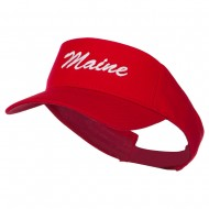 Maine State Embroidered Sun Visor - Red