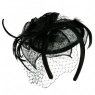 Sinamay Tear Drop Cocktail Hat - Black
