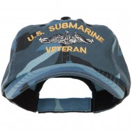 US Submarine Veteran Military Embroidered Enzyme Camo Cap - Sky