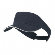 Brushed Cotton Twill Sandwich Visor - Navy