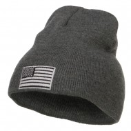 Silver American Flag Embroidered Short Beanie - Dk Grey