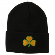 St.Patrick's Day Clover Embroidered Long Beanie - Black