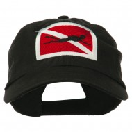 Scuba Diver Down Embroidered Low Profile Washed Cap - Black