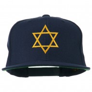 Star of David Embroidered Flat Bill Cap - Navy