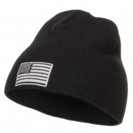 Silver American Flag Embroidered Short Beanie - Black