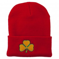 St.Patrick's Day Clover Embroidered Long Beanie - Red