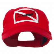 Scuba Diver Down Embroidered Low Profile Washed Cap - Red