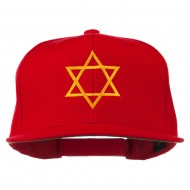 Star of David Embroidered Flat Bill Cap - Red