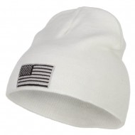 Silver American Flag Embroidered Short Beanie - White