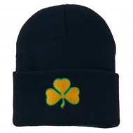 St.Patrick's Day Clover Embroidered Long Beanie - Navy