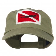 Scuba Diver Down Embroidered Low Profile Washed Cap - Olive
