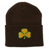 St.Patrick's Day Clover Embroidered Long Beanie - Brown