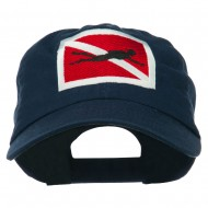 Scuba Diver Down Embroidered Low Profile Washed Cap - Navy