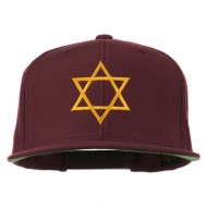 Star of David Embroidered Flat Bill Cap - Purple