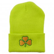 St.Patrick's Day Clover Embroidered Long Beanie - Lime