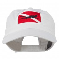 Scuba Diver Down Embroidered Low Profile Washed Cap - White