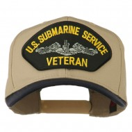 US Submarine Service Veteran Military Patched Two Tone High Cap - Navy Khaki