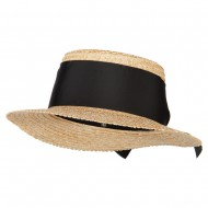 Women's Straw Wide Ribbon Tall Boater Hat - Natural