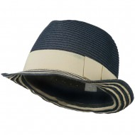 Women's Paper Braid Fedora Hat with Striped Brim - Navy Tan