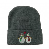 Snowmen with Heart Embroidered Beanie - Grey