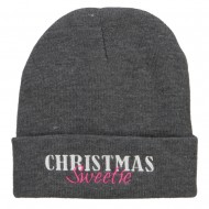 Christmas Sweetie Embroidered Long Beanie - Dk Grey