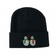 Snowmen with Heart Embroidered Beanie - Navy