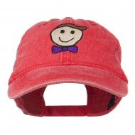 Smile Dad Embroidered Washed Cap - Red