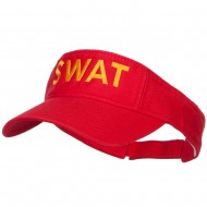 SWAT Embroidered Cotton Washed Visor - Red