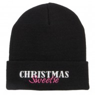 Christmas Sweetie Embroidered Long Beanie - Black