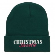 Christmas Sweetie Embroidered Long Beanie - Dk Green