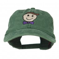 Smile Dad Embroidered Washed Cap - Dark Green