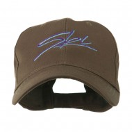 Ski Wording in Cursive Embroidered Cap - Brown