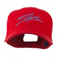Ski Wording in Cursive Embroidered Cap - Red