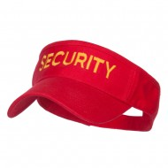 Security Embroidered Brushed Sun Visor - Red