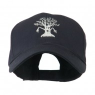 Spooky Halloween Tree Embroidered Cap - Navy