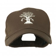 Spooky Halloween Tree Embroidered Cap - Brown