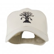 Spooky Halloween Tree Embroidered Cap - Stone