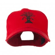 Spooky Halloween Tree Embroidered Cap - Red