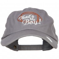 That's My Boy Football Embroidered Unstructured Cap - Grey