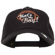 That's My Boy Football Embroidered Unstructured Cap - Black