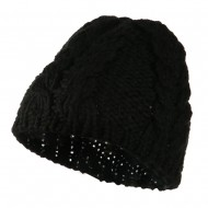 Thick Cable Knit Beanie Cap - Black