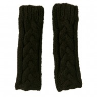 11 Inches Thick Cable Fingerless Arm Warmer - Dark Grey
