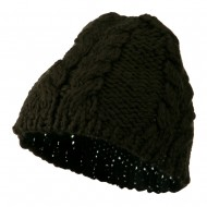 Thick Cable Knit Beanie Cap - Dark Grey
