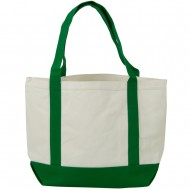 Two Tone Cotton Canvas Tote Bag - White Kelly